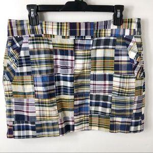 J. Crew Plaid Patchwork Cotton Mini Skirt 8